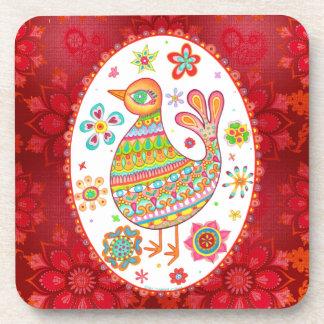Folk Art Bird Coasters - Set of 6