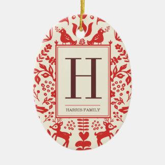 Folk Art Monogram & Photo Holiday Ornament