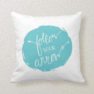 Follow Your Arrow Throw Pillow | {Teal Back} Cushions