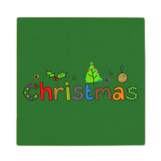 Forest Green Christmas Wood Coaster