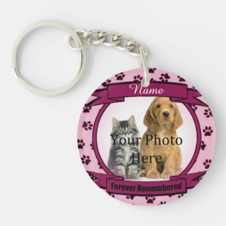 Forever Remembered - Pink Paw Prints Pet Loss Double-Sided Round Acrylic Key Ring