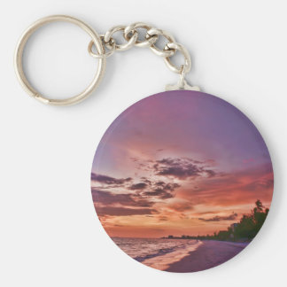 Fort Myers Beach Sunset Basic Round Button Key Ring
