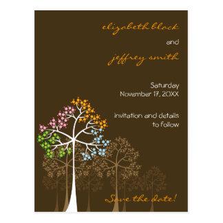 Four Seasons Trees Woodland Wedding Save The Date Postcard