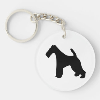 Fox Terrier wire-haired dog black silhouette, gift Double-Sided Round Acrylic Key Ring