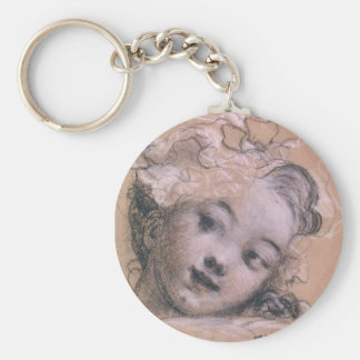 Fragonard Girl Basic Round Button Key Ring
