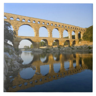 France, Avignon. The Pont du Gard Roman aqueduct Large Square Tile