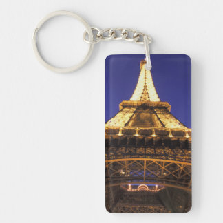 FRANCE, Paris Eiffel Tower, evening view Double-Sided Rectangular Acrylic Key Ring