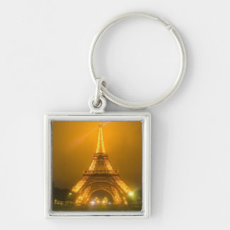 France, Paris. Eiffel Tower illuminated at 3 Silver-Colored Square Key Ring