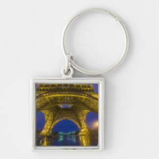 France, Paris. Eiffel Tower illuminated at Silver-Colored Square Key Ring