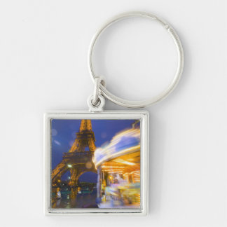France, Paris. Eiffel Tower in twilight fog and Silver-Colored Square Key Ring
