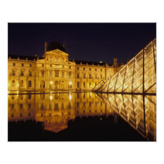 France, Paris, Louvre museum by night. Poster