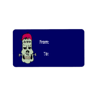 Frankenskull Gift Tag Address Label