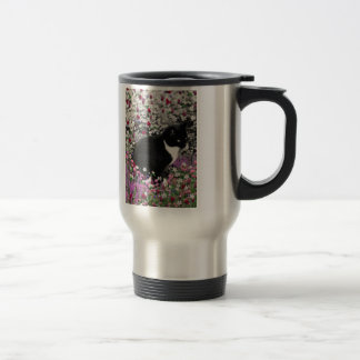 Freckles in Flowers II - Tux Kitty Cat Stainless Steel Travel Mug