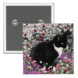 Freckles in Flowers II - Tuxedo Kitty Cat 15 Cm Square Badge