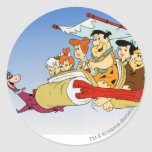 Fred Flintstone Wilma Barney and Betty PEBBLES™ Round Sticker