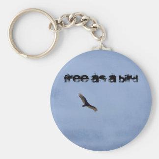 Free as a bird basic round button key ring