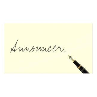 Free Handwriting Script Announcer Business Card