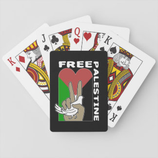 Free Palestine Dove Heart Peace Sign Playing Cards