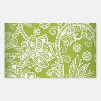 Free-Seamless-Floral-Vector-Background GREEN WHITE Rectangular Sticker