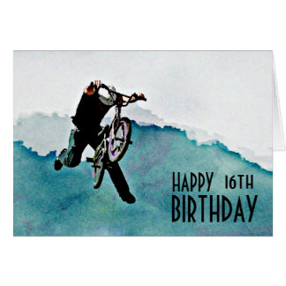 Freestyle BMX Bicycle Stunt Greeting Card