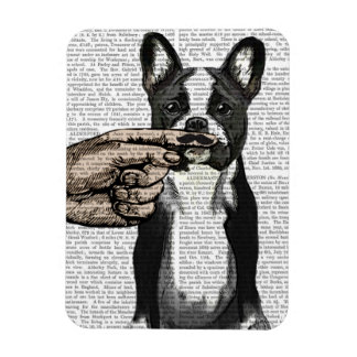 French Bulldog and Finger Moustache Rectangular Photo Magnet