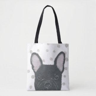 French Bulldog, Black Frenchie, Polka Dots, Cute Tote Bag