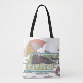 French Bulldog, Brindle Frenchie, Colorful, Pop Tote Bag