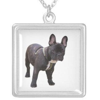 French bulldog necklace, gift idea square pendant necklace