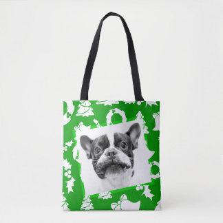 French Bulldog Puppy Christmas Tree bells wreath Tote Bag