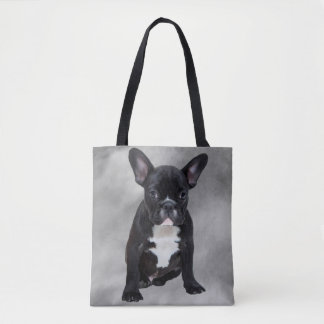 French Bulldog Sitting Watercolor Oil Painting Tote Bag