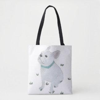 French Bulldog, White Frenchie, Minimalist, Cute Tote Bag