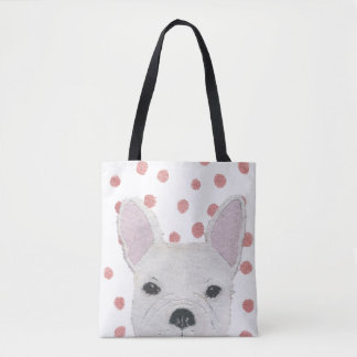 French Bulldog, White Frenchie, Pink Dots, Cute Tote Bag