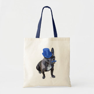 French Bulldog With Blue Top Hat and Moustache Budget Tote Bag