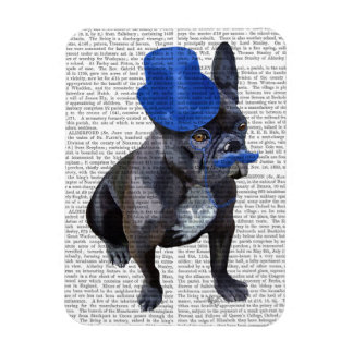 French Bulldog With Blue Top Hat and Moustache Rectangular Photo Magnet