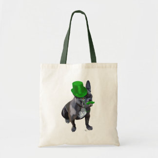 French Bulldog With Green Top Hat and Moustache Budget Tote Bag