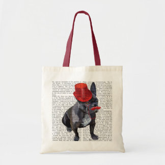 French Bulldog With Red Top Hat and Moustache Budget Tote Bag