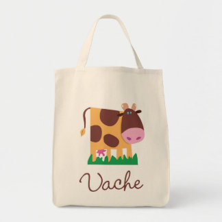 French Cow Tote Grocery Tote Bag