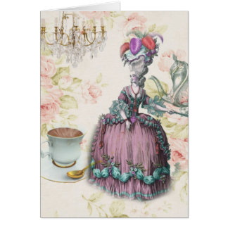 French floral Paris Tea Party Marie Antoinette Greeting Card