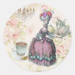 French floral Paris Tea Party Marie Antoinette Round Sticker