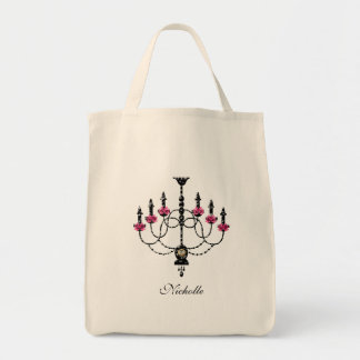 French Girlie Chandelier Grocery Tote Bag