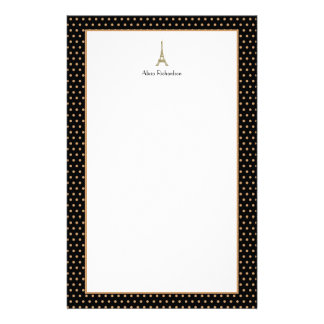 French Glam Black, Gold, and White Eiffel Tower Personalized Stationery