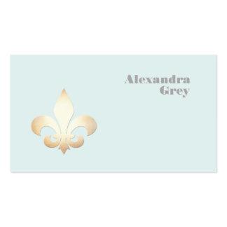 French Gold Leaf Fleur de Lis Light Blue Pack Of Standard Business Cards