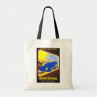 French Riviera Vintage Travel Budget Tote Bag