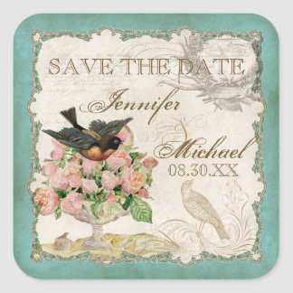 French Roses Love Birds Vintage Lace - Aqua Blue Square Sticker