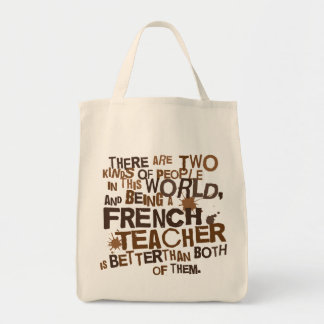 French Teacher Gift Grocery Tote Bag