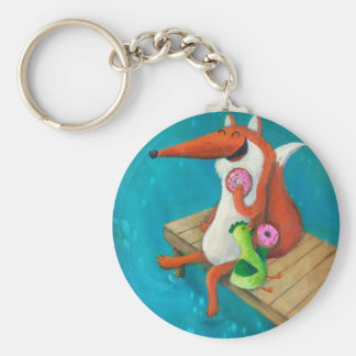 Friendly Fox and Chicken eating donuts Basic Round Button Key Ring
