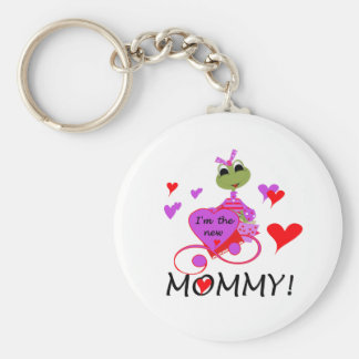 Frog New Mommy Basic Round Button Key Ring