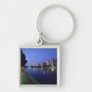 Front du Seine and Eiffel Tower, Paris, France 2 Silver-Colored Square Key Ring