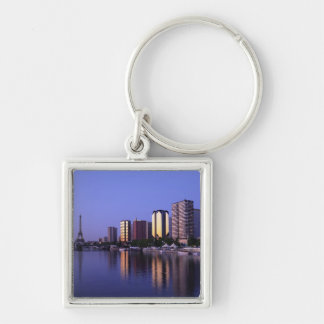 Front du Seine and Eiffel Tower, Paris, France Silver-Colored Square Key Ring