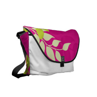 Fuchsia and Apple Green Mod Vines Courier Bag